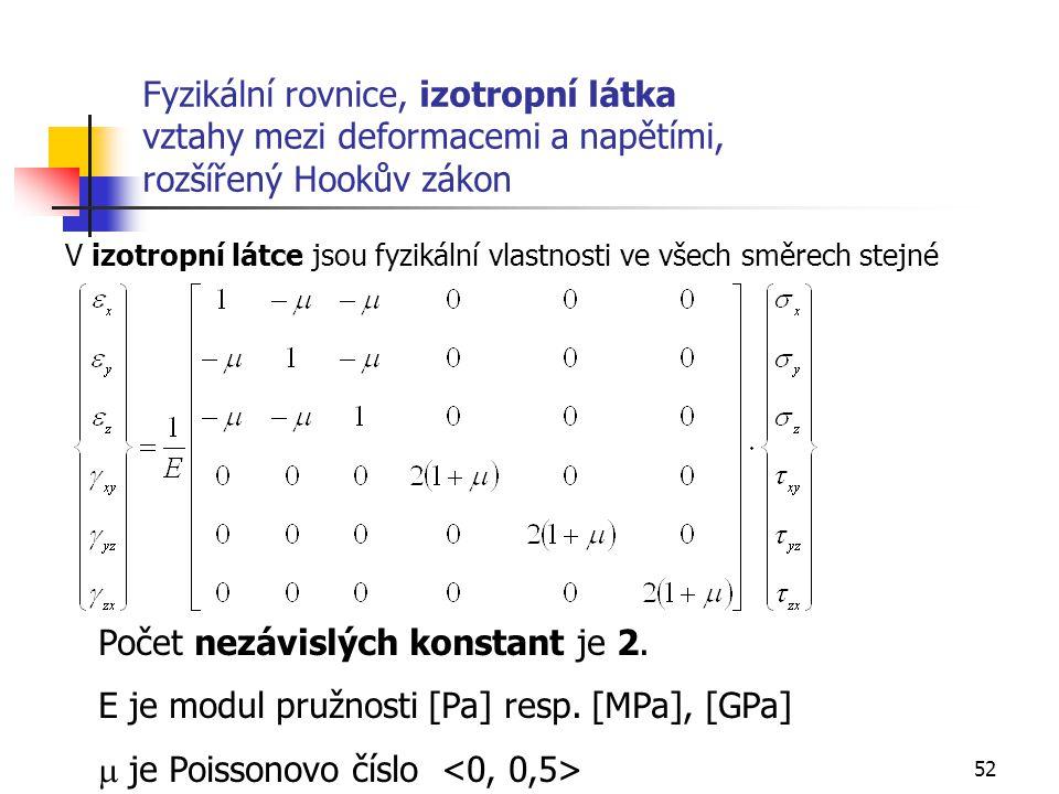 52 Fyzikální rovnice, izotropní látka vztahy mezi deformacemi a napětími, rozšířený Hookův zákon Počet nezávislých konstant je 2.