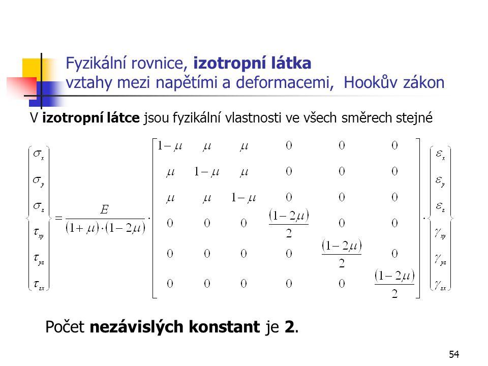 54 Fyzikální rovnice, izotropní látka vztahy mezi napětími a deformacemi, Hookův zákon Počet nezávislých konstant je 2.