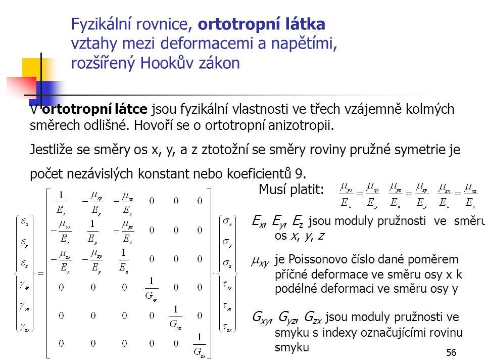 56 Fyzikální rovnice, ortotropní látka vztahy mezi deformacemi a napětími, rozšířený Hookův zákon V ortotropní látce jsou fyzikální vlastnosti ve třech vzájemně kolmých směrech odlišné.