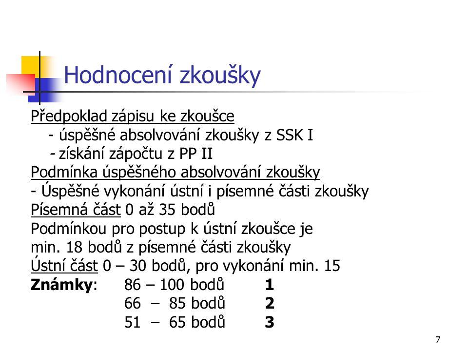 7 Hodnocení zkoušky Předpoklad zápisu ke zkoušce - úspěšné absolvování zkoušky z SSK I - získání zápočtu z PP II Podmínka úspěšného absolvování zkoušky - Úspěšné vykonání ústní i písemné části zkoušky Písemná část 0 až 35 bodů Podmínkou pro postup k ústní zkoušce je min.