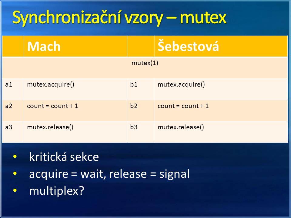 kritická sekce acquire = wait, release = signal multiplex? MachŠebestová mutex(1) a1mutex.acquire()b1mutex.acquire() a2count = count + 1b2count = coun