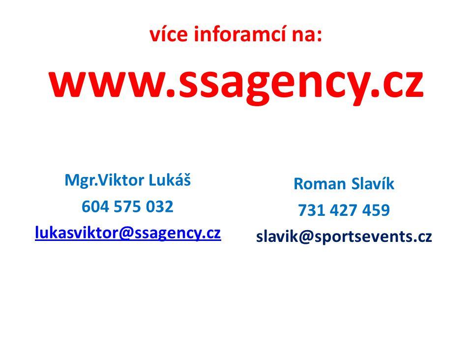 více inforamcí na: www.ssagency.cz Mgr.Viktor Lukáš 604 575 032 lukasviktor@ssagency.cz Roman Slavík 731 427 459 slavik@sportsevents.cz