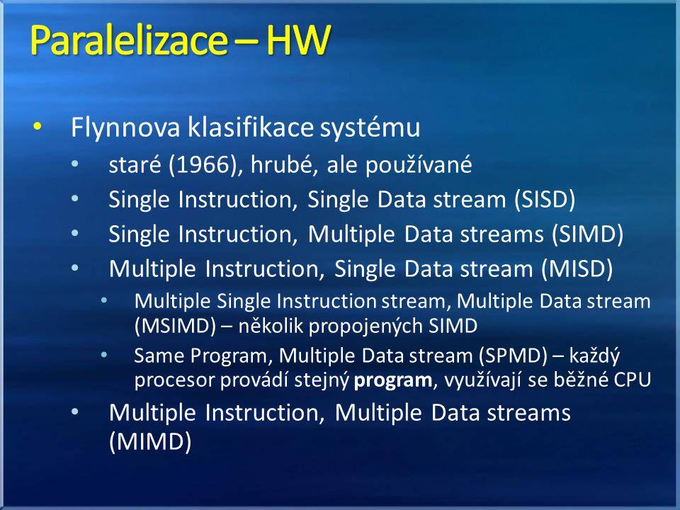 Flynnova klasifikace systému staré (1966), hrubé, ale používané Single Instruction, Single Data stream (SISD) Single Instruction, Multiple Data stream