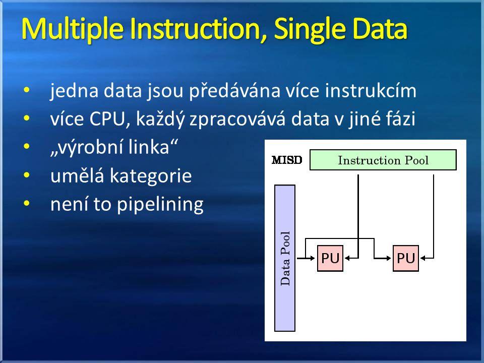 """jedna data jsou předávána více instrukcím více CPU, každý zpracovává data v jiné fázi """"výrobní linka umělá kategorie není to pipelining"""