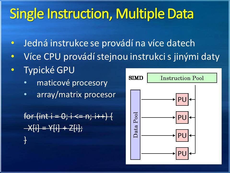 Jedná instrukce se provádí na více datech Více CPU provádí stejnou instrukci s jinými daty Typické GPU maticové procesory array/matrix procesor for (int i = 0; i <= n; i++) { X[i] = Y[i] + Z[i]; }