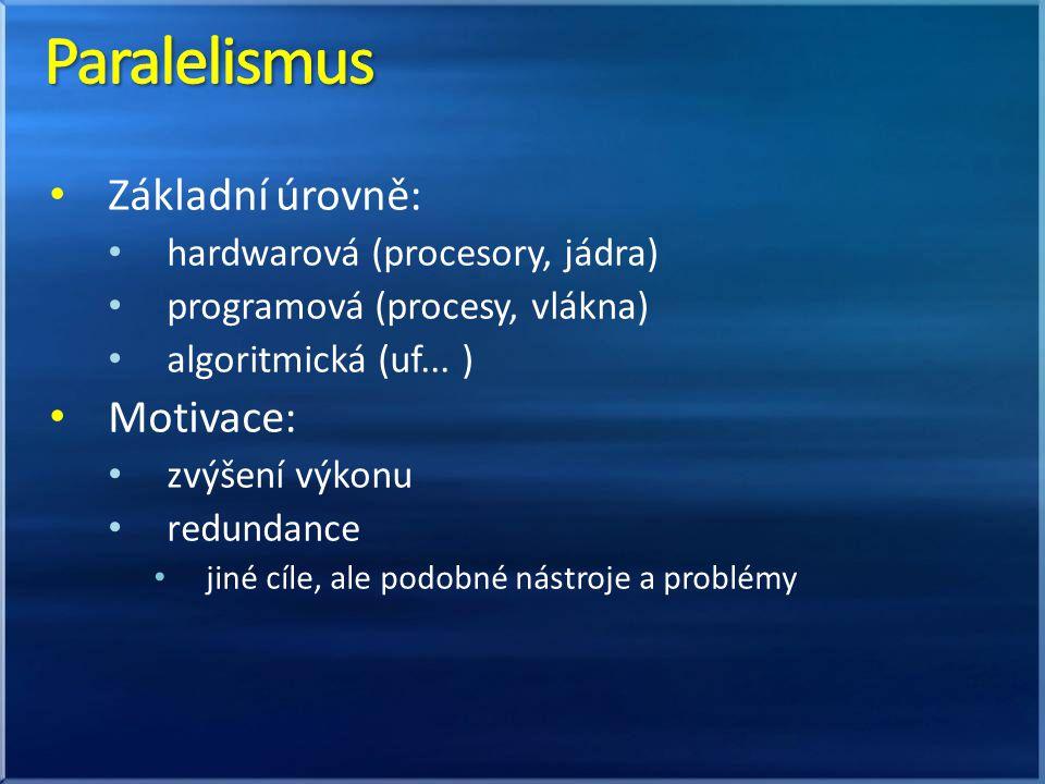 Základní úrovně: hardwarová (procesory, jádra) programová (procesy, vlákna) algoritmická (uf...