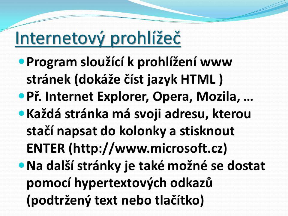 Internetový prohlížeč Program sloužící k prohlížení www stránek (dokáže číst jazyk HTML ) Př.