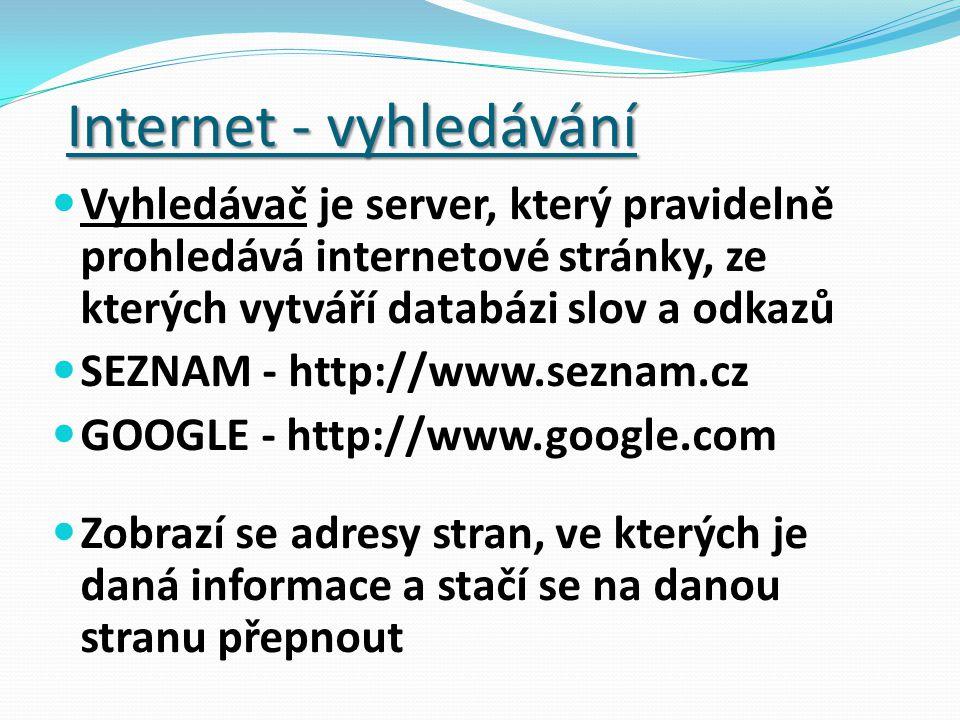 Vyhledávač je server, který pravidelně prohledává internetové stránky, ze kterých vytváří databázi slov a odkazů SEZNAM - http://www.seznam.cz GOOGLE - http://www.google.com Zobrazí se adresy stran, ve kterých je daná informace a stačí se na danou stranu přepnout Internet - vyhledávání