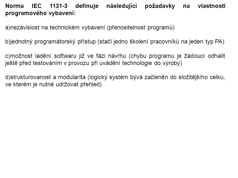 Norma IEC 1131-3 definuje následující požadavky na vlastnosti programového vybavení: a)nezávislost na technickém vybavení (přenositelnost programů) b)