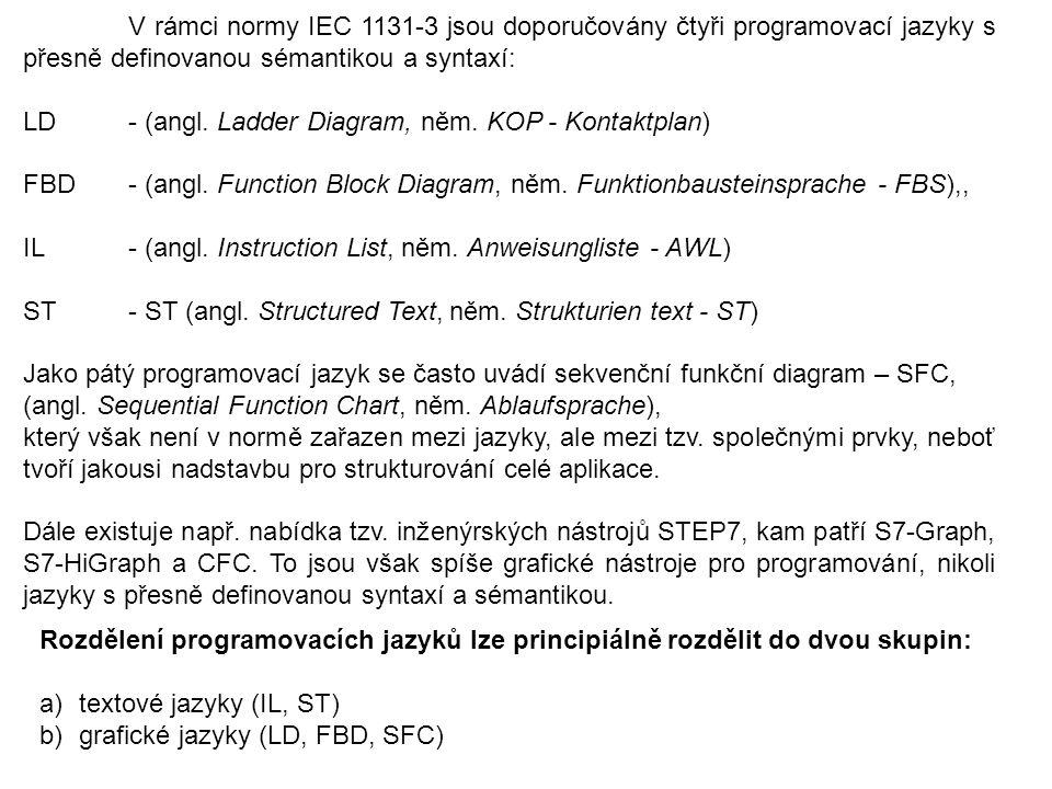 V rámci normy IEC 1131-3 jsou doporučovány čtyři programovací jazyky s přesně definovanou sémantikou a syntaxí: LD - (angl. Ladder Diagram, něm. KOP -