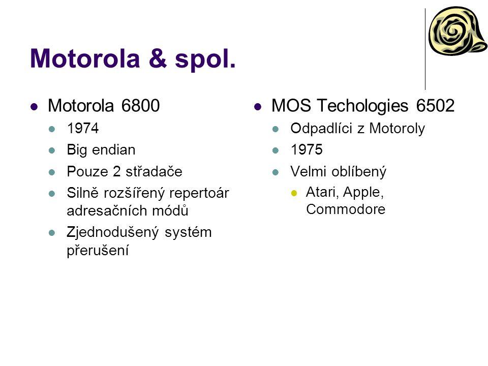 Motorola 68000 1979 Interně 32-bitový Vnější rozhraní: 16-bitová data, 24-bitová adresa Téměř ortogonální instrukční soubor Big endian 8 univerzálních 32-bitových datových registrů Dx, využitelných i po menších častech (8 a 16 bitů) 8 téměř univerzálních 32- bitových adresových registrů Ax A7 je USP Další systémové a řídící registry (PC, příznaky, A7' SSP, SR) Vektorový systém přerušení User/supervisor mode Apple Macintosh Motorola 68010 1982 Podpora pro virtualizaci paměti Restart instrukce Relokovatelnost tabulky přerušení