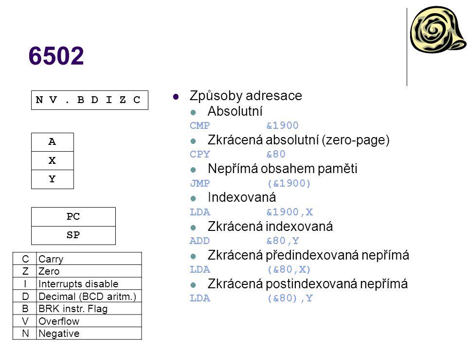 6502 Způsoby adresace Absolutní CMP&1900 Zkrácená absolutní (zero-page) CPY&80 Nepřímá obsahem paměti JMP(&1900) Indexovaná LDA&1900,X Zkrácená indexo