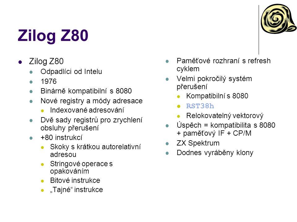 Alpha – registry a instrukční soubor Registry 32 obecných 64-bitových celočíselných registrů R0- R31 Speciální význam R31 – pro čtení vždy 0 32 64-bitových registrů v řádové čárce F0-F31 Speciální význam F31 – pro čtení vždy 0.0 PC Vždy zarovnán na 4 PCC 32-bitový čítač cyklů Instrukční soubor Ortogonální 3-operandový Silně 64-bitový Omezená podpora pro jiné šířky operandů Pevný formát limituje přímé operandy Posuny v paměťových výrazech Skoky Běžný repertoár instrukcí Není dělení Podpora pro více procesorů