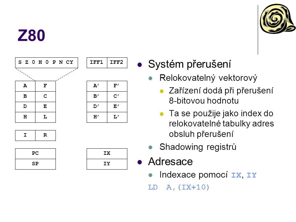 IBM 360/370/390 – paměť a základní jednotka Paměť Adresování 24-bitové Později u 390 32-bitové Stránkování s klíčem Jedna stránkovací tabulka pro všechny procesy Bezpečnost v jednom adresovém prostoru Každý proces má jednoznačný identifikátor (klíč) V každé položce stránkovací tabulky také klíč Přístup pouze při shodě klíčů Data musí být v paměti zarovnána Základní jednotka 16 univerzálních 32-bitových registrů 0-15 (střadače, báze, indexy) 4 64-bitové registry reálné aritmetiky 0,2,4,6 (střadače) Stavový registr PSW PC Kód výsledku Klíč ochrany paměti A mnoho dalších věcí