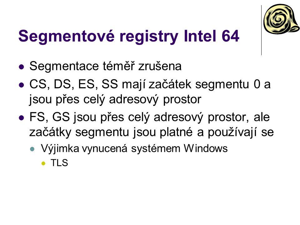 Segmentové registry Intel 64 Segmentace téměř zrušena CS, DS, ES, SS mají začátek segmentu 0 a jsou přes celý adresový prostor FS, GS jsou přes celý adresový prostor, ale začátky segmentu jsou platné a používají se Výjimka vynucená systémem Windows TLS