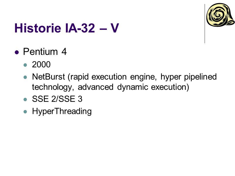Historie IA-32/Intel 64 – VI Core Duo/Core Solo 2006 2/1 jádra Smart Cache Core 2 Duo, Core 2 Quadro 2006 2/4/6 jádra Intel 64, virtualizace Nová mikroarchitektura SSE 4.1