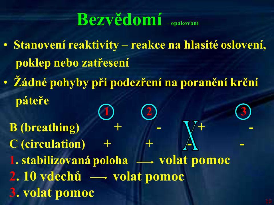 10 Bezvědomí - opakování Stanovení reaktivity – reakce na hlasité oslovení, poklep nebo zatřesení Žádné pohyby při podezření na poranění krční páteře