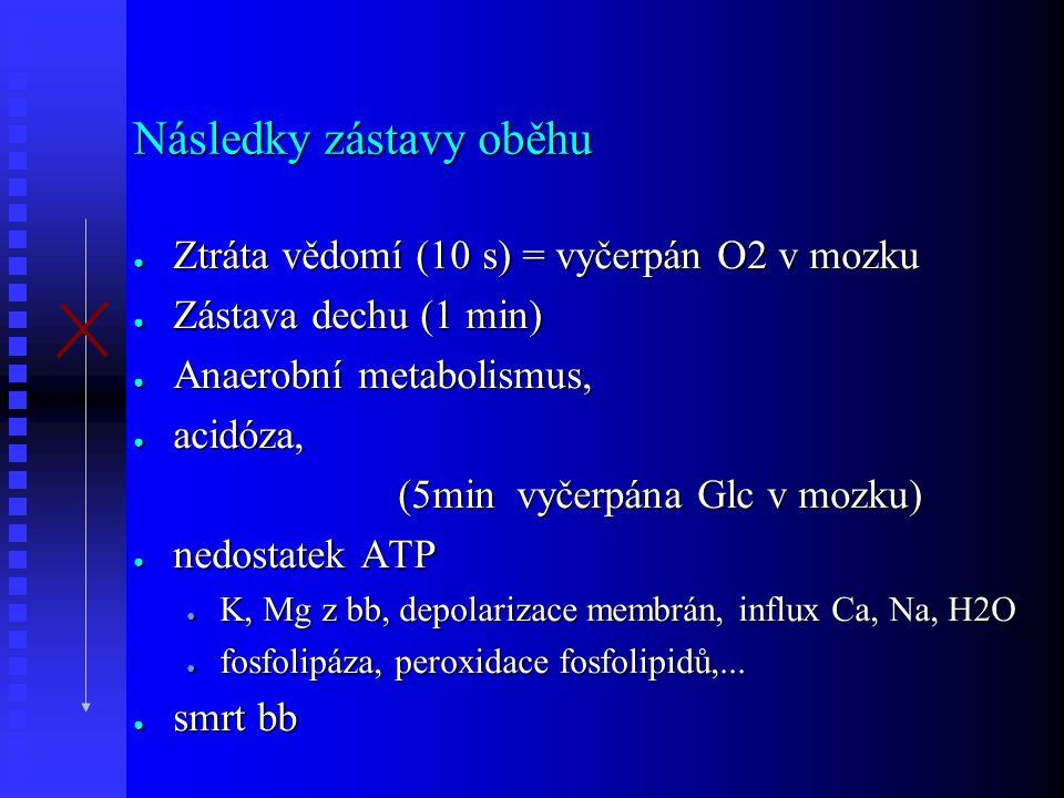 Následky zástavy oběhu ● Ztráta vědomí (10 s) = vyčerpán O2 v mozku ● Zástava dechu (1 min) ● Anaerobní metabolismus, ● acidóza, (5min vyčerpána Glc v