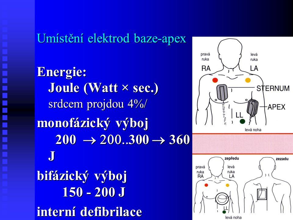Umístění elektrod baze-apex Energie: Joule (Watt × sec.) srdcem projdou 4%/ monofázický výboj 200  300  360 J bifázický výboj 150 - 200 J inte