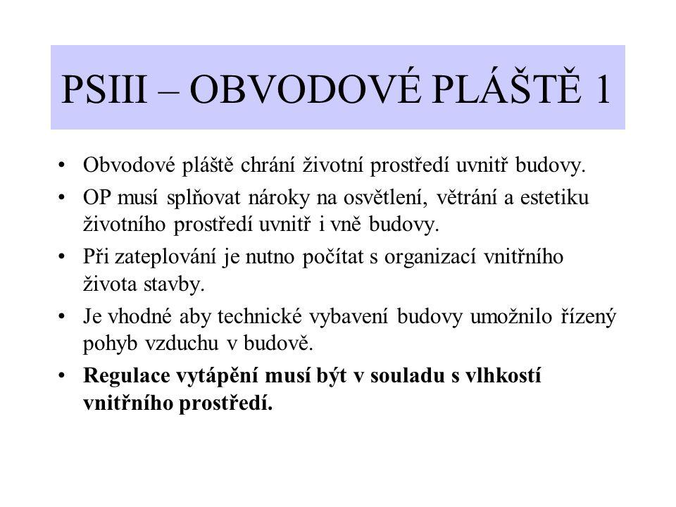 PSIII – OBVODOVÉ PLÁŠTĚ 1 Obvodové pláště chrání životní prostředí uvnitř budovy. OP musí splňovat nároky na osvětlení, větrání a estetiku životního p