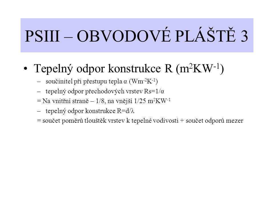PSIII – OBVODOVÉ PLÁŠTĚ 3 Tepelný odpor konstrukce R (m 2 KW -1 ) –součinitel při přestupu tepla α (Wm -2 K -1 ) –tepelný odpor přechodových vrstev Rs