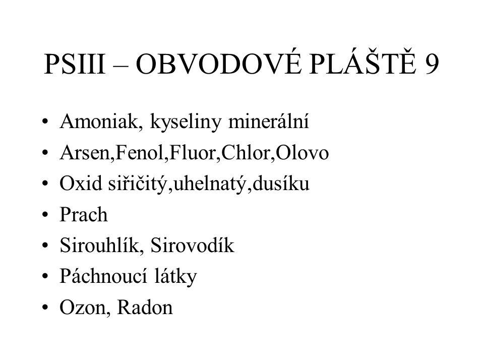 PSIII – OBVODOVÉ PLÁŠTĚ 9 Amoniak, kyseliny minerální Arsen,Fenol,Fluor,Chlor,Olovo Oxid siřičitý,uhelnatý,dusíku Prach Sirouhlík, Sirovodík Páchnoucí