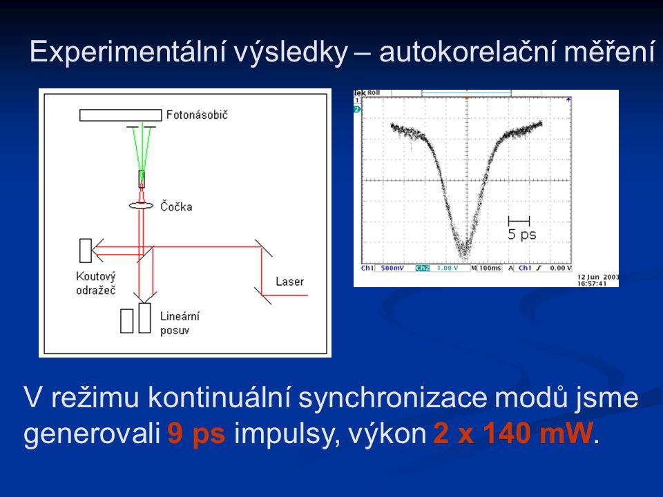Experimentální výsledky – autokorelační měření V režimu kontinuální synchronizace modů jsme generovali 9 ps impulsy, výkon 2 x 140 mW.