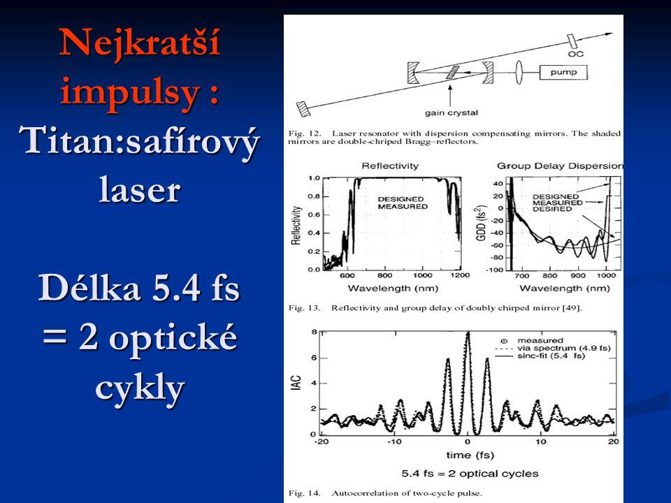 Nejkratší impulsy : Titan:safírový laser Délka 5.4 fs = 2 optické cykly