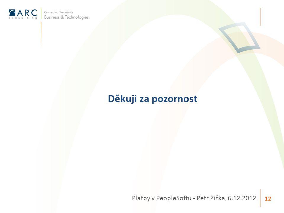 Děkuji za pozornost Platby v PeopleSoftu - Petr Žižka, 6.12.2012 12