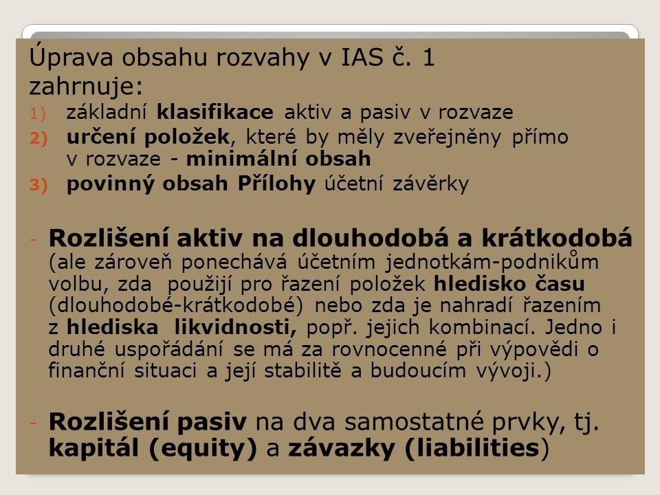Minimální obsah rozvahy dle IAS/IFRS (horizontální forma) Název firmy Rozvaha k ….……20xx měna (v ….