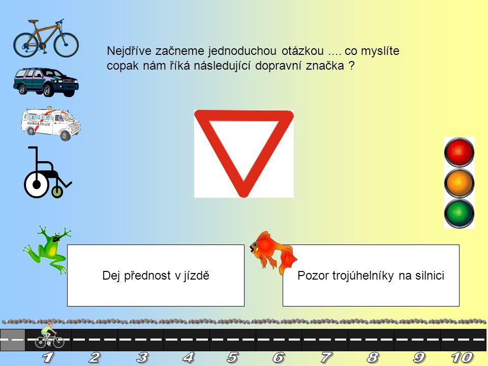 Nejdříve začneme jednoduchou otázkou....co myslíte copak nám říká následující dopravní značka .