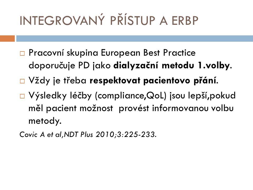 INTEGROVANÝ PŘÍSTUP A ERBP  Pracovní skupina European Best Practice doporučuje PD jako dialyzační metodu 1.volby.  Vždy je třeba respektovat pacient
