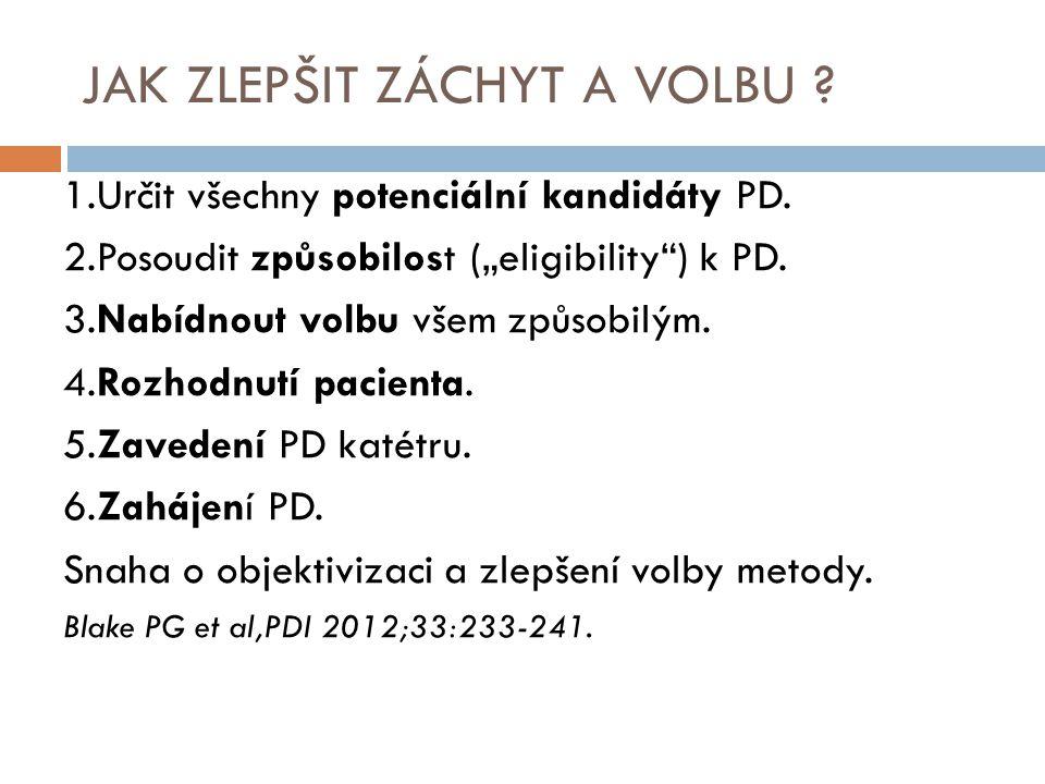 """JAK ZLEPŠIT ZÁCHYT A VOLBU ? 1.Určit všechny potenciální kandidáty PD. 2.Posoudit způsobilost (""""eligibility"""") k PD. 3.Nabídnout volbu všem způsobilým."""