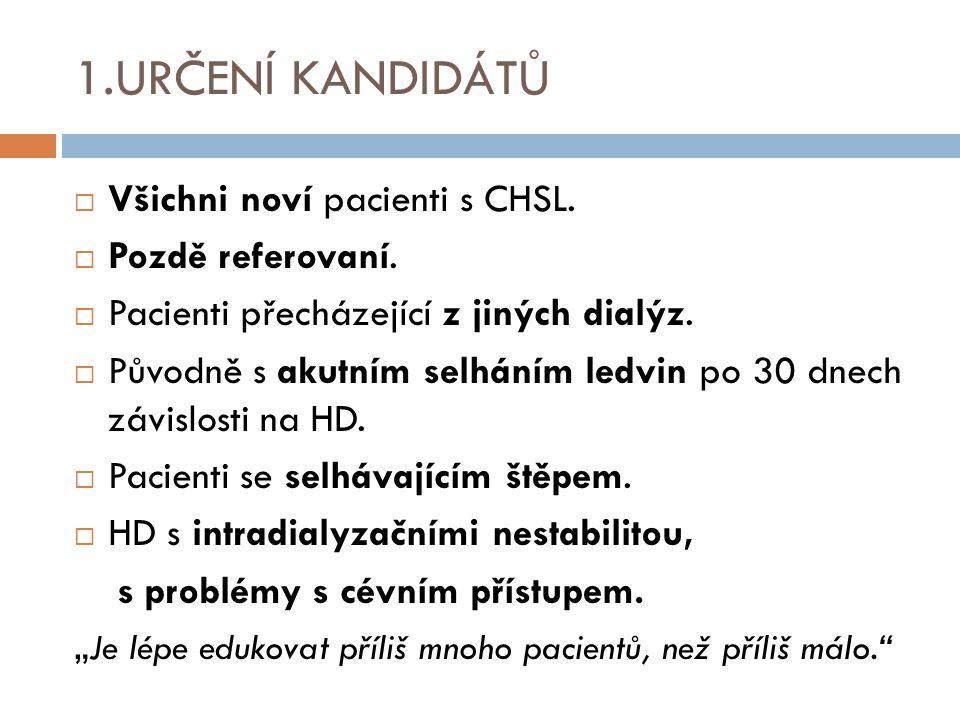 1.URČENÍ KANDIDÁTŮ  Všichni noví pacienti s CHSL.  Pozdě referovaní.  Pacienti přecházející z jiných dialýz.  Původně s akutním selháním ledvin po