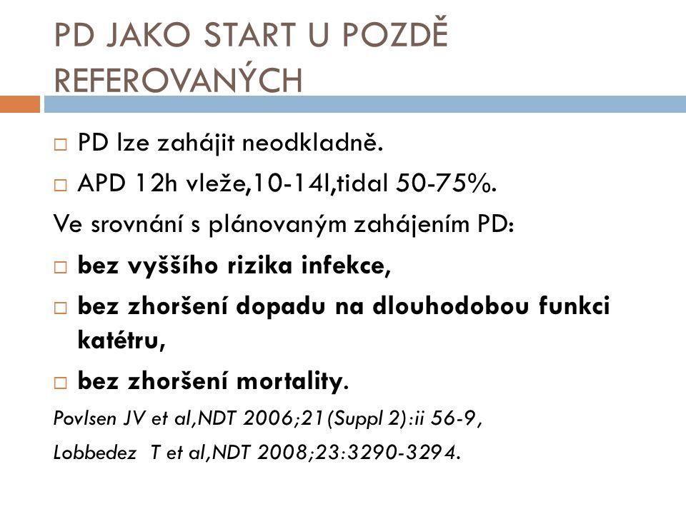 PD JAKO START U POZDĚ REFEROVANÝCH  PD lze zahájit neodkladně.  APD 12h vleže,10-14l,tidal 50-75%. Ve srovnání s plánovaným zahájením PD:  bez vyšš