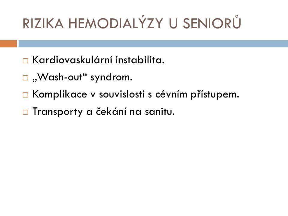 """RIZIKA HEMODIALÝZY U SENIORŮ  Kardiovaskulární instabilita.  """"Wash-out"""" syndrom.  Komplikace v souvislosti s cévním přístupem.  Transporty a čekán"""