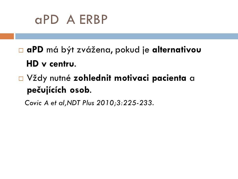 aPD A ERBP  aPD má být zvážena, pokud je alternativou HD v centru.  Vždy nutné zohlednit motivaci pacienta a pečujících osob. Covic A et al,NDT Plus