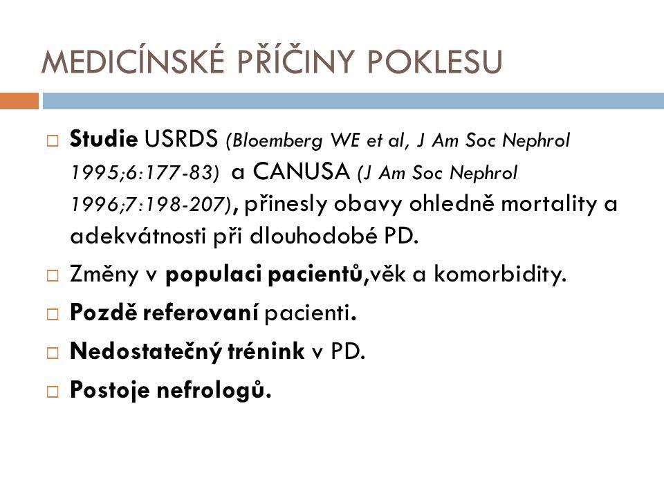 MEDICÍNSKÉ PŘÍČINY POKLESU  Studie USRDS (Bloemberg WE et al, J Am Soc Nephrol 1995;6:177-83) a CANUSA (J Am Soc Nephrol 1996;7:198-207), přinesly ob
