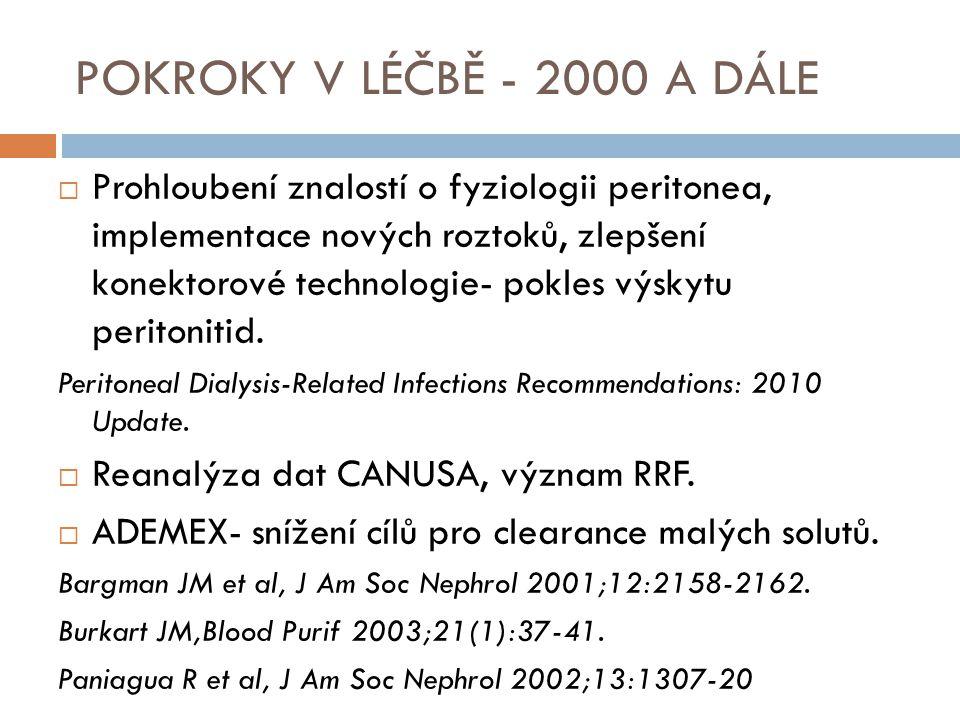 POKROKY V LÉČBĚ - 2000 A DÁLE  Prohloubení znalostí o fyziologii peritonea, implementace nových roztoků, zlepšení konektorové technologie- pokles výs
