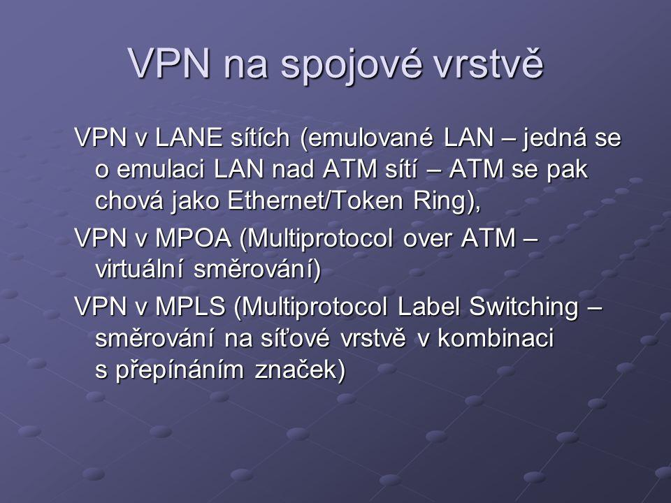 VPN na spojové vrstvě VPN v LANE sítích (emulované LAN – jedná se o emulaci LAN nad ATM sítí – ATM se pak chová jako Ethernet/Token Ring), VPN v MPOA (Multiprotocol over ATM – virtuální směrování) VPN v MPLS (Multiprotocol Label Switching – směrování na síťové vrstvě v kombinaci s přepínáním značek)