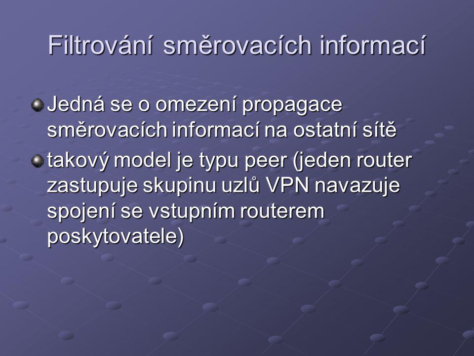 Jedná se o omezení propagace směrovacích informací na ostatní sítě takový model je typu peer (jeden router zastupuje skupinu uzlů VPN navazuje spojení