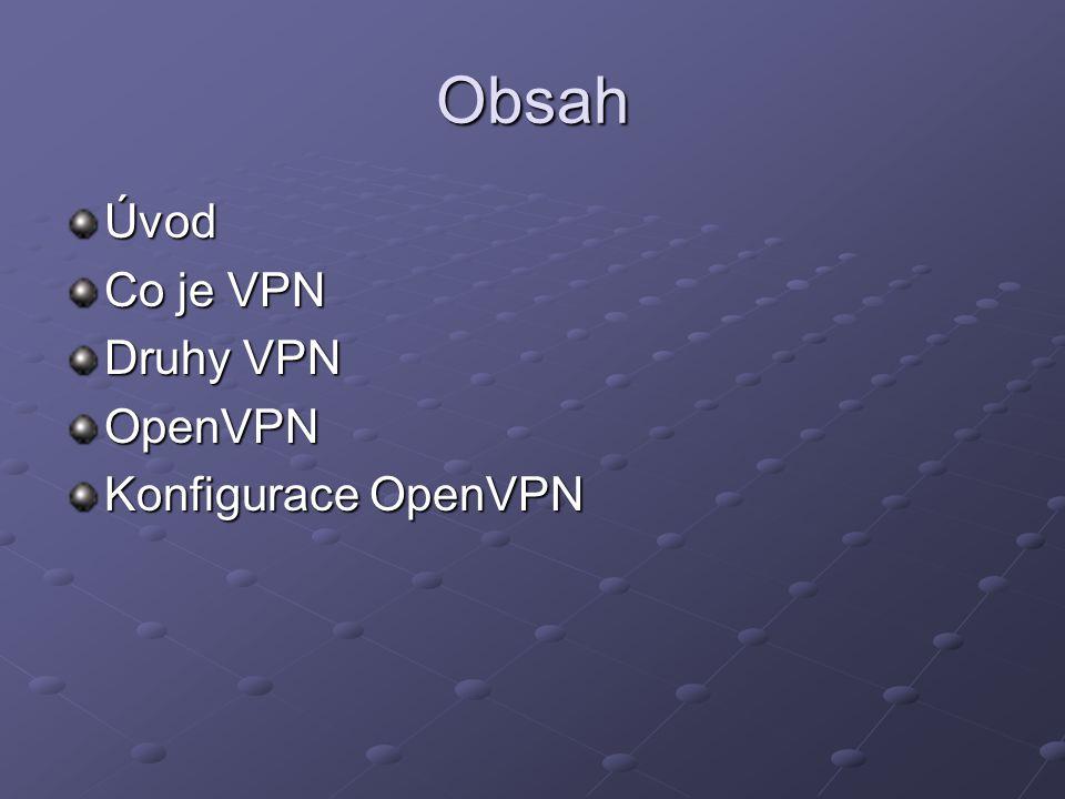 Obsah Úvod Co je VPN Druhy VPN OpenVPN Konfigurace OpenVPN