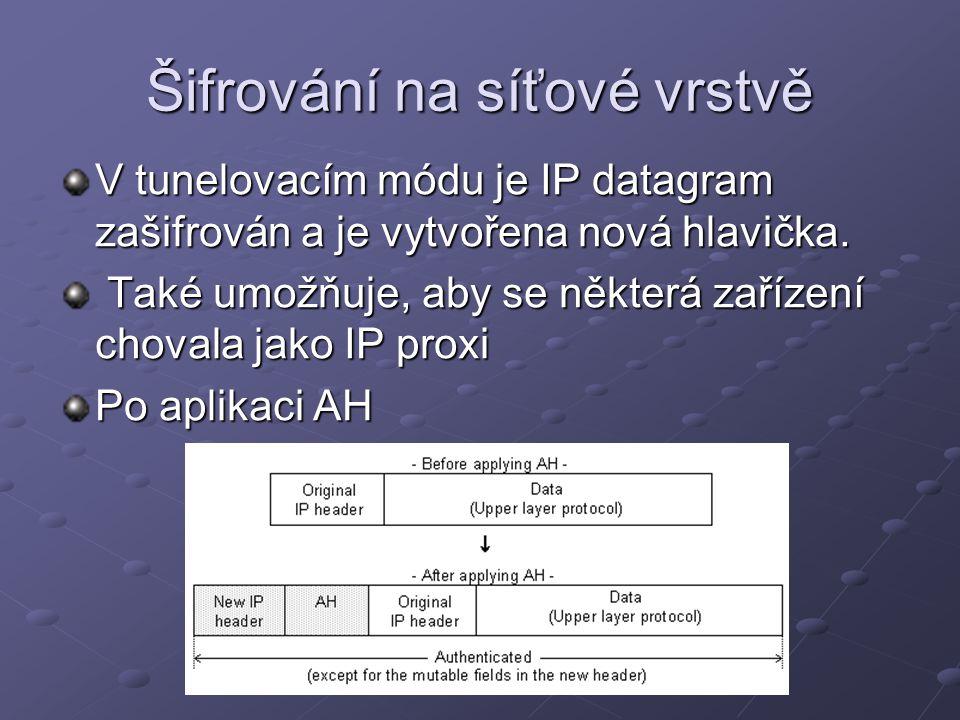 Šifrování na síťové vrstvě V tunelovacím módu je IP datagram zašifrován a je vytvořena nová hlavička. Také umožňuje, aby se některá zařízení chovala j
