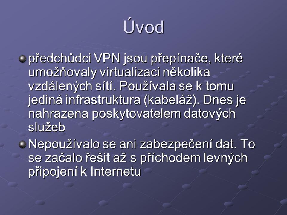 Úvod předchůdci VPN jsou přepínače, které umožňovaly virtualizaci několika vzdálených sítí. Používala se k tomu jediná infrastruktura (kabeláž). Dnes