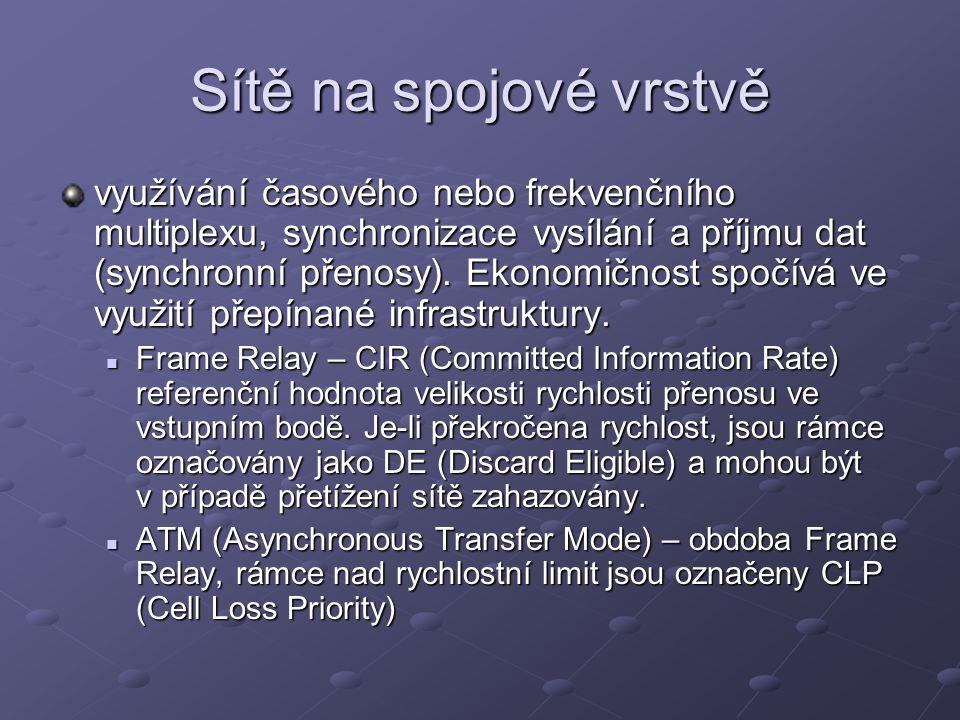 Sítě na spojové vrstvě využívání časového nebo frekvenčního multiplexu, synchronizace vysílání a příjmu dat (synchronní přenosy).