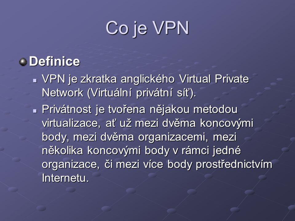 Co je VPN Důvody vytváření VPN Vytvořením VPN sítě chceme dosáhnout virtualizace v jisté části komunikace – tzn.