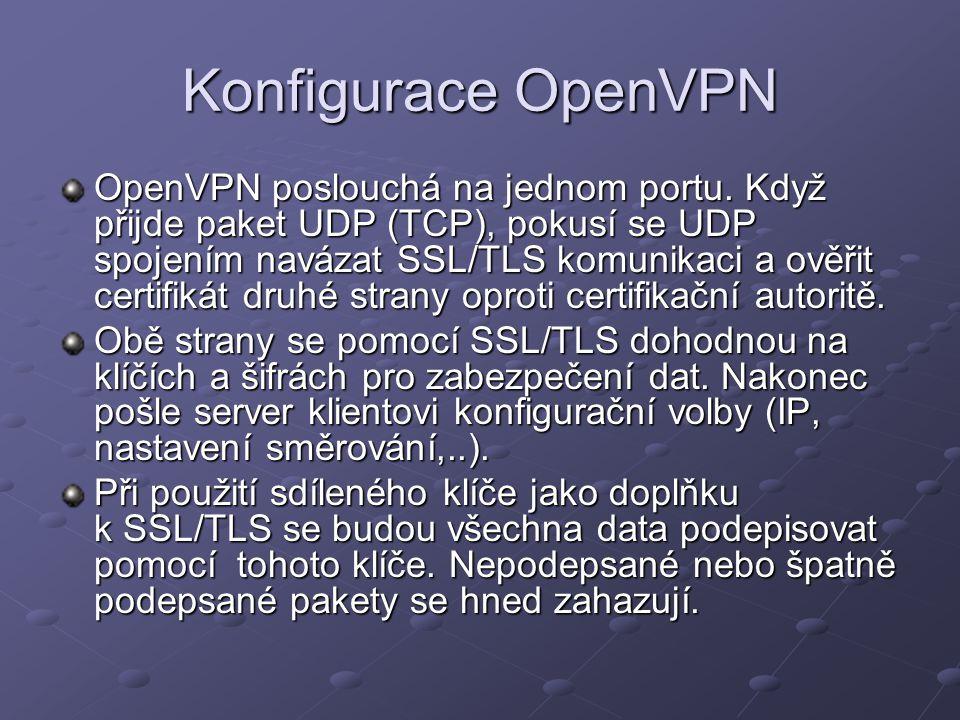 Konfigurace OpenVPN OpenVPN poslouchá na jednom portu. Když přijde paket UDP (TCP), pokusí se UDP spojením navázat SSL/TLS komunikaci a ověřit certifi