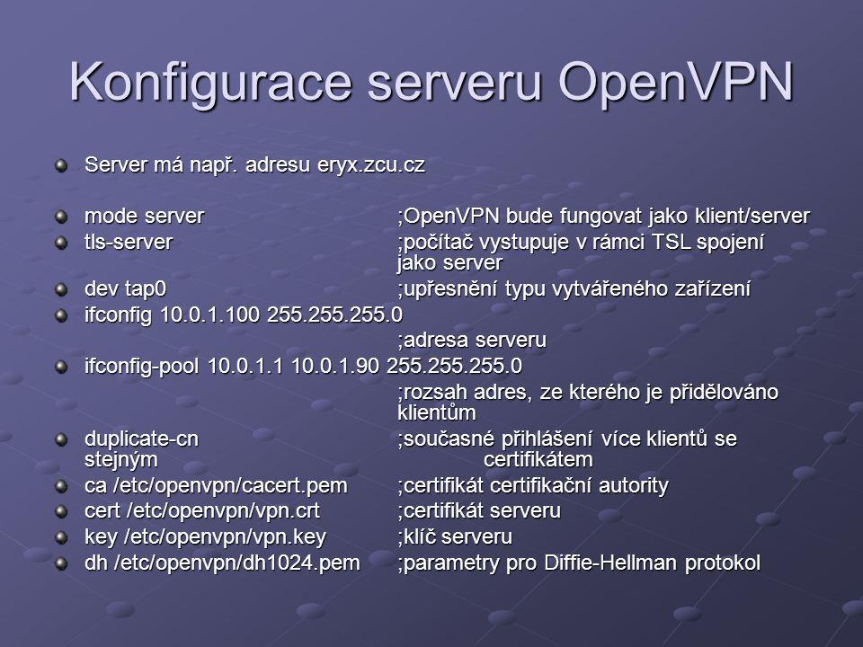 Konfigurace serveru OpenVPN Server má např. adresu eryx.zcu.cz mode server;OpenVPN bude fungovat jako klient/server tls-server;počítač vystupuje v rám