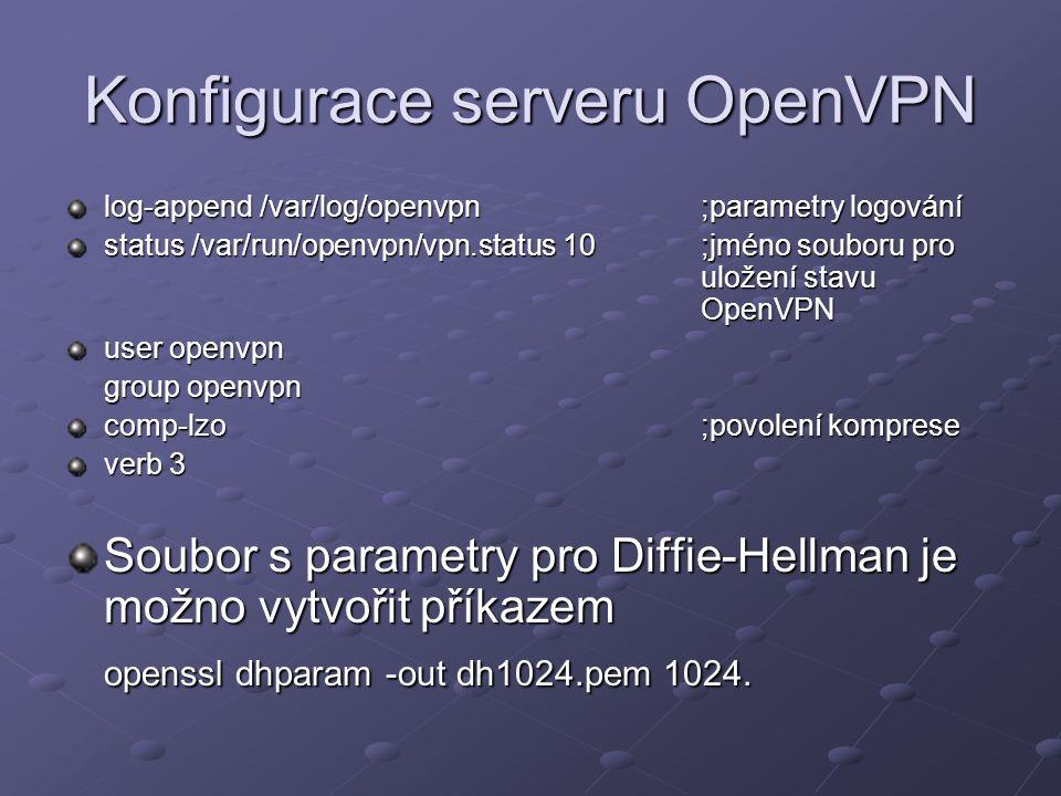 Konfigurace serveru OpenVPN log-append /var/log/openvpn;parametry logování status /var/run/openvpn/vpn.status 10;jméno souboru pro uložení stavu OpenV