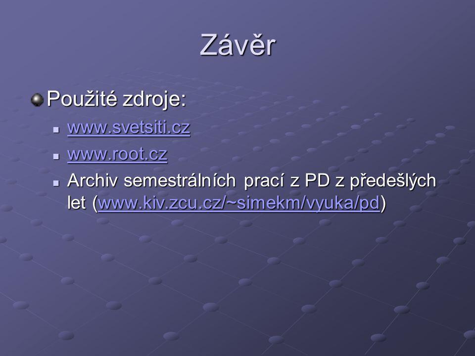 Závěr Použité zdroje: www.svetsiti.cz www.svetsiti.cz www.svetsiti.cz www.root.cz www.root.cz www.root.cz Archiv semestrálních prací z PD z předešlých let (www.kiv.zcu.cz/~simekm/vyuka/pd) Archiv semestrálních prací z PD z předešlých let (www.kiv.zcu.cz/~simekm/vyuka/pd)www.kiv.zcu.cz/~simekm/vyuka/pd